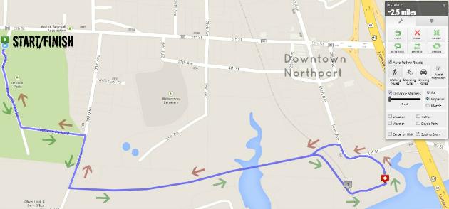 Bama Zombie Dash Route